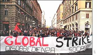 Demonstration in Rome during the strike