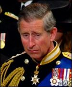 Prince Charles at Queen Mother's funeral