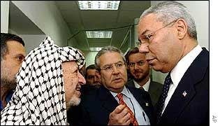 Yasser Arafat (left) and Colin Powell