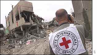 Red Cross workers relates destruction of Jenin over mobile phone