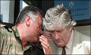 Ratko Mladic (left) with Radovan Karadzic in August 1993