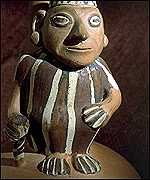 Ornamental figure recovered during dig at Inca burial site, AFP