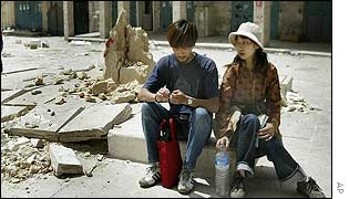 Backpackers Yuji Makano and Mina Takahashi take in the sights of Bethlehem
