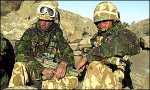Royal Marines from 45 Commando in the mountains of eastern Afghanistan