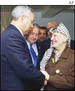 US Secretary of State Colin Powell meets Palestinian leader Yasser Arafat in Ramallah