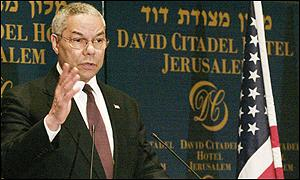 US Secretary of State Colin Powell addresses press conference in Jerusalem