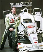 Jacques Villeneuve at the launch of BAR's new car for 2002