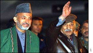 Interim leader Hamid Karzai (left) with Zahir Shah