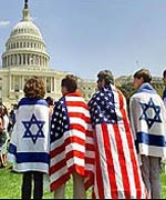 Israel supporters wear flags at rally in Washington