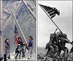 Image result for raising the flag iwo jima at ground zero