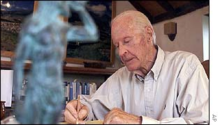 Thor Heyerdahl in his office on the island of Tenerife