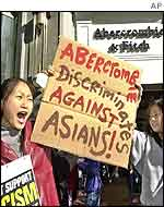 Protesters outside an Abercrombie and Fitch shop in San Francisco