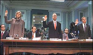From left, Enron executives Sherron Watkins, Jeffrey Skilling and Jeff McMahon