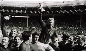 England's captain, Bobby Moore lifts the World Cup in 1966