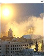 Flares above Church of the Nativity