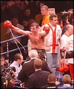 Joe Calzaghe celebrates his 10th successful WBO super-middleweight title defence