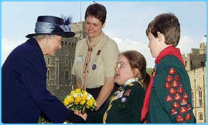 The Queen meets some Scouts on her 76th Jubilee birthday