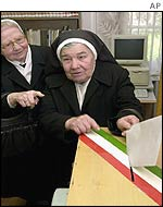 Nuns casting their votes in the general election