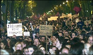 Thousands of people gather on the Bastille square in Paris protesting against extreme-rightist Jean-Marie Le Pen