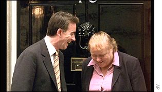 Peter Mandelson with Mo Mowlam when she was moved from the Northern Ireland Office