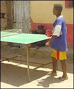 Badme residents play table tennis
