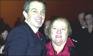 Prime Minister Tony Blair and former minister Mo Mowlam