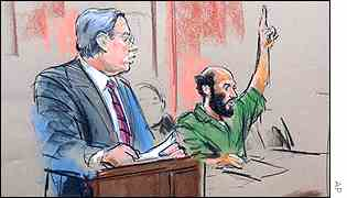 Artist's drawing of Zacarias Moussaoui watched by defence lawyer Frank Dunham Jnr