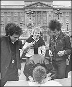 The Sex Pistols signed a deal outside Buckingham Palace in 1977