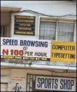 Outside an internet cafe in Lagos