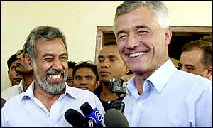 East Timor's president-elect Xanana Gusmao (left) and Sergio Vieira de Mello, chairman of the UN Transitional Administration on East Timor