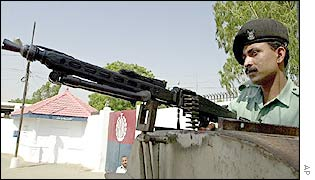 Pakistani paramilitary soldier on guard at the jail where the trial is taking place