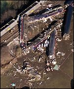 An aerial view of the crash site at Selby, West Yorkshire