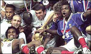 France celebrate their World cup win in 1998