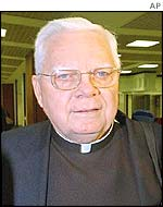 Cardinal Bernard Law arriving in Rome