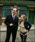 John Swinney with Corrie star Tina O'Brien