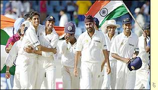 India celebrate victory in Trinidad
