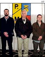 Irishmen arrested in Colombia, from left: David Bracken, James Monaghan and Martin McCauley