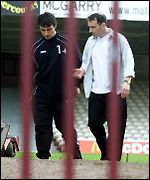 Pat Nevin (right) at Fir Park on Wednesday