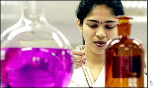Indian scientist at Cipla Laboratories working on cheap Aids drugs