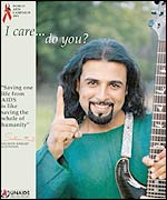 Lead guitarist Salman Ahmed of pop band 'Junoon' in UN Aids awareness poster