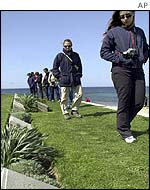 Tourists mostly from Australia and New Zealand visit the Anzac Cove