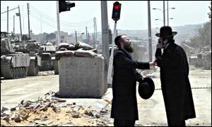 Ultra-Orthodox Jews at a checkpoint