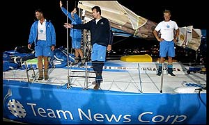 Team News Corp celebrate their win on leg six of the Volvo Ocean Race in Baltimore