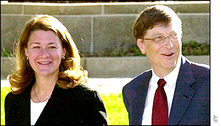 Bill Gates arriving at the court building in Washington on Wednesday with wife Melinda