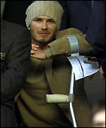 David Beckham watches Man Utd from the stands on Wednesday