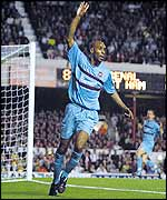 Frederic Kanoute celebrates but the referee did not give the goal for West Ham