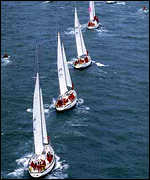 [ image: The fleet in formation before leaving Plymouth]