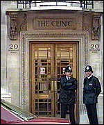 [ image: Pinochet remains under police guard at the clinic]