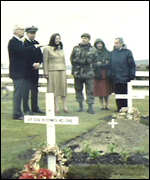 [ image: The Thatchers survey war graves in the Falklands]