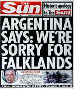 [ image: Friday's story in The Sun will not have made Mr Menem's visit any easier]